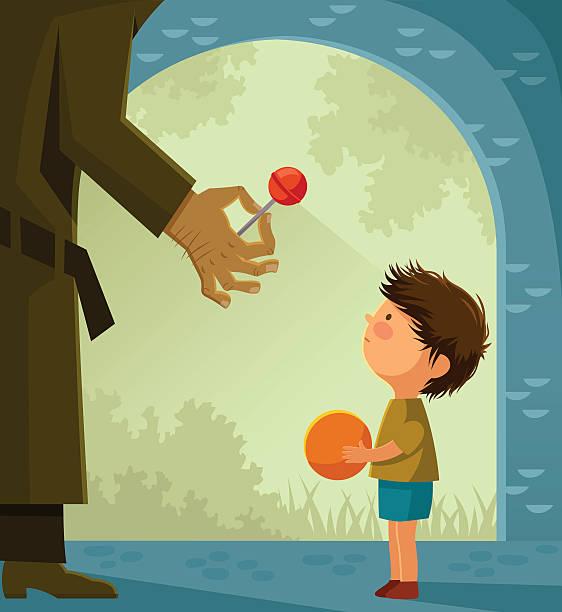 stranger danger - child abuse stock illustrations