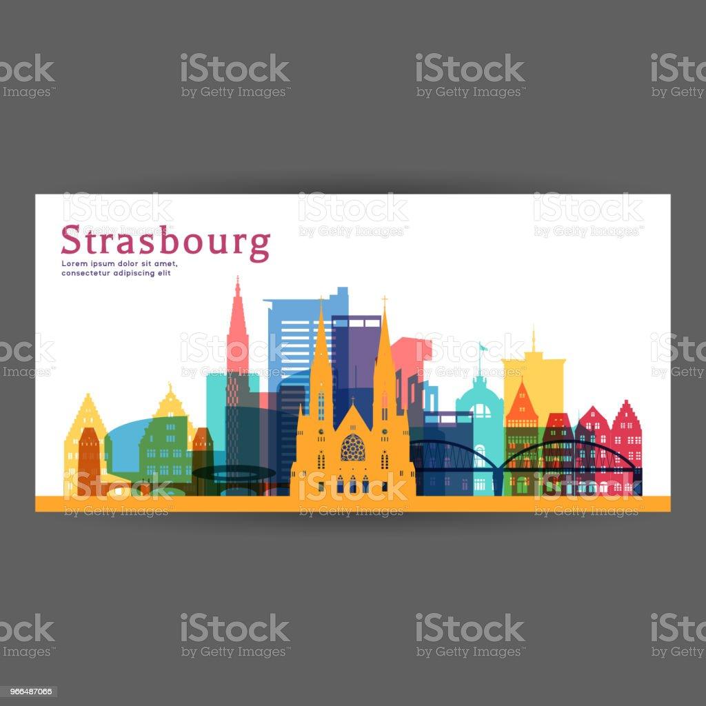 Illustration vectorielle de Strasbourg architecture colorée, silhouette ville skyline, gratte-ciel, design plat. - Illustration vectorielle