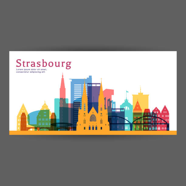 Strasbourg colorful architecture vector illustration, skyline city silhouette, skyscraper, flat design. Strasbourg colorful architecture vector illustration, skyline city silhouette, skyscraper, flat design. strasbourg stock illustrations