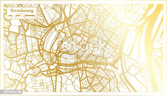 istock Strasbourg France City Map in Retro Style in Golden Color. 1304303766