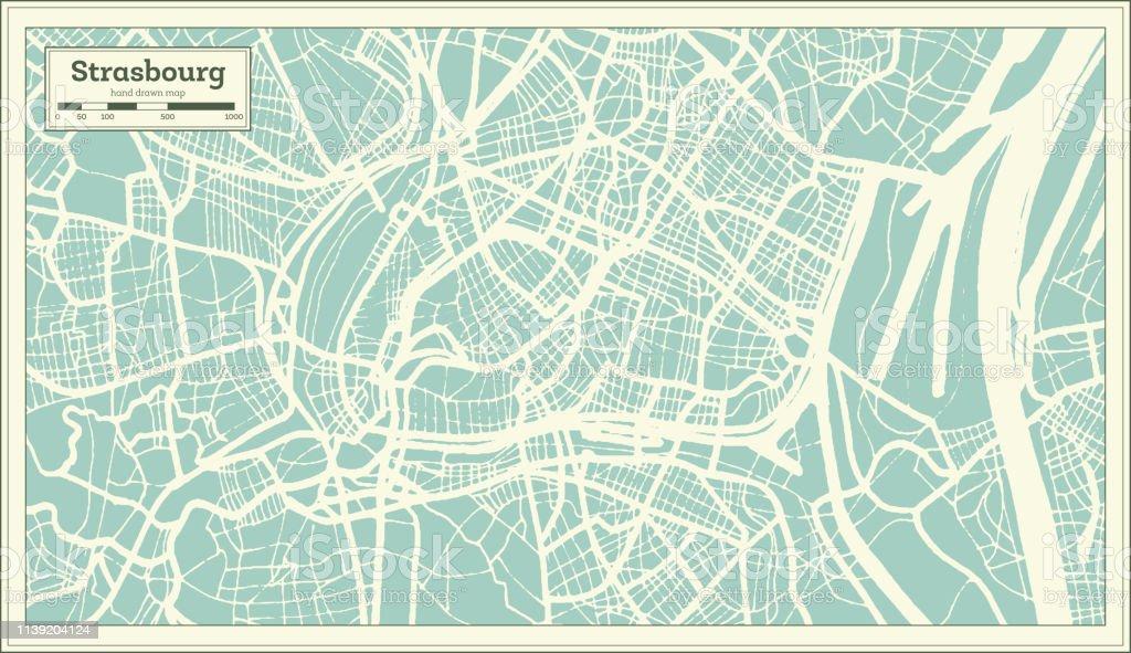 Straßburger Stadtplan France Im Retrostil Outline Map Stock ...