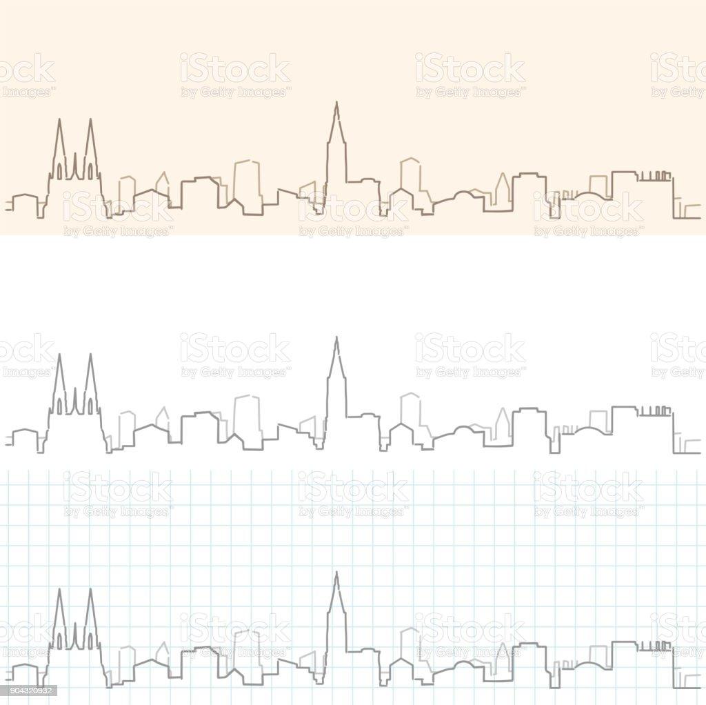 Strasbourg main dessinée Skyline - Illustration vectorielle