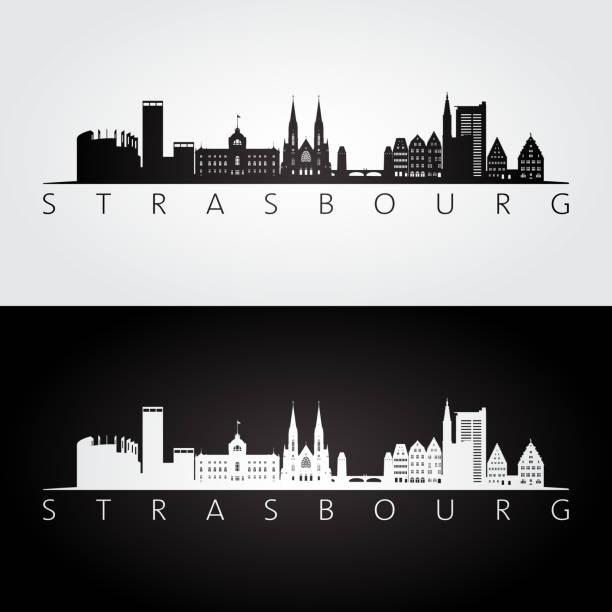 Strasbourg skyline and landmarks silhouette, black and white design, vector illustration. Strasbourg skyline and landmarks silhouette, black and white design, vector illustration. strasbourg stock illustrations