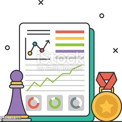 istock strategic performance Award Concept, growth appraisal Medal  Vector Icon Design, Business Strategy Symbol, Marketing plan Sign, administration and operational management Stock illustration 1326618771