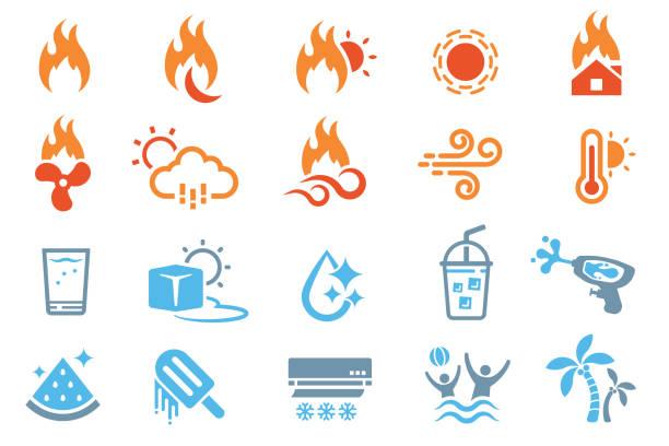 stockillustraties, clipart, cartoons en iconen met strategieën voor het omgaan met extreem warm weer. - bevroren voedsel