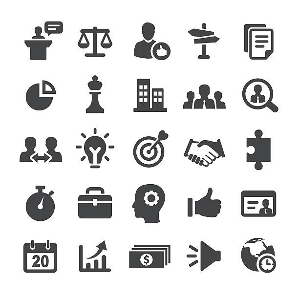 strategy and business icons - smart series - business icons stock illustrations, clip art, cartoons, & icons