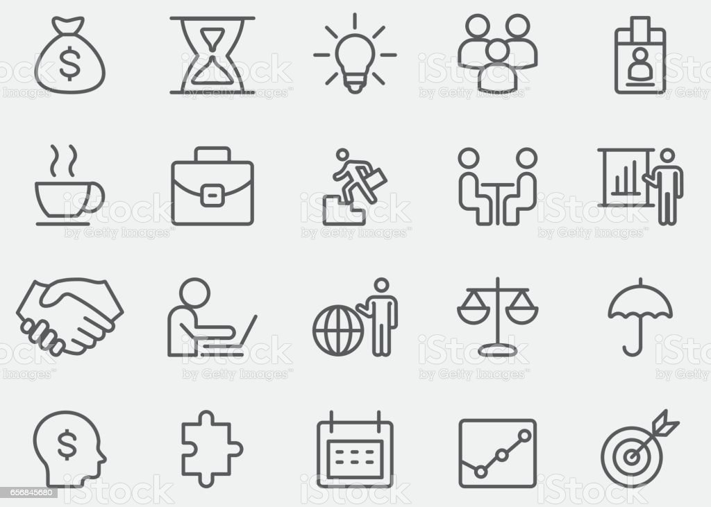Strategy and Business Line Icons | EPS 10 vector art illustration
