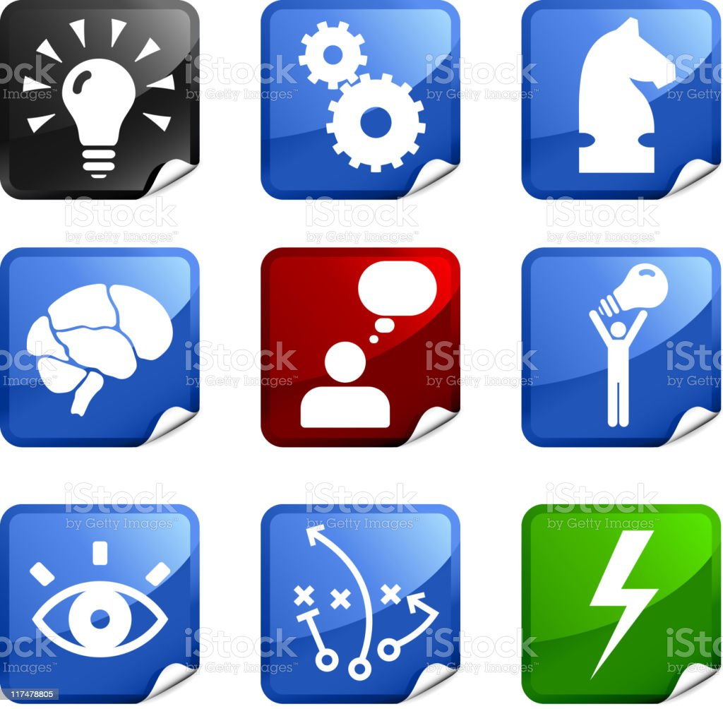 Strategy and development conceptual nine royalty free vector icon set royalty-free stock vector art