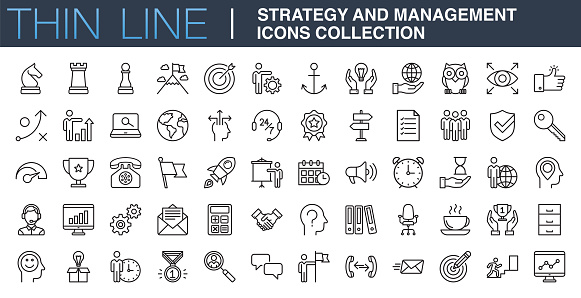 Strategy and Management Icons Collection clipart