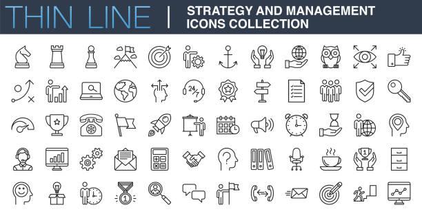 коллекция значков стратегии и управления - понятия и темы stock illustrations