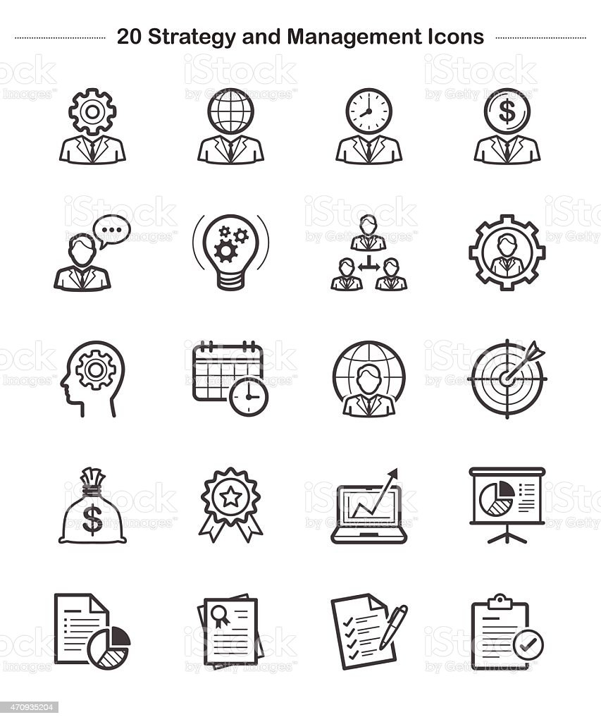 Strategy and Management Icons Set, Line icon vector art illustration