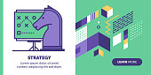 Strategy vector banner illustration also contains icon for the topic.