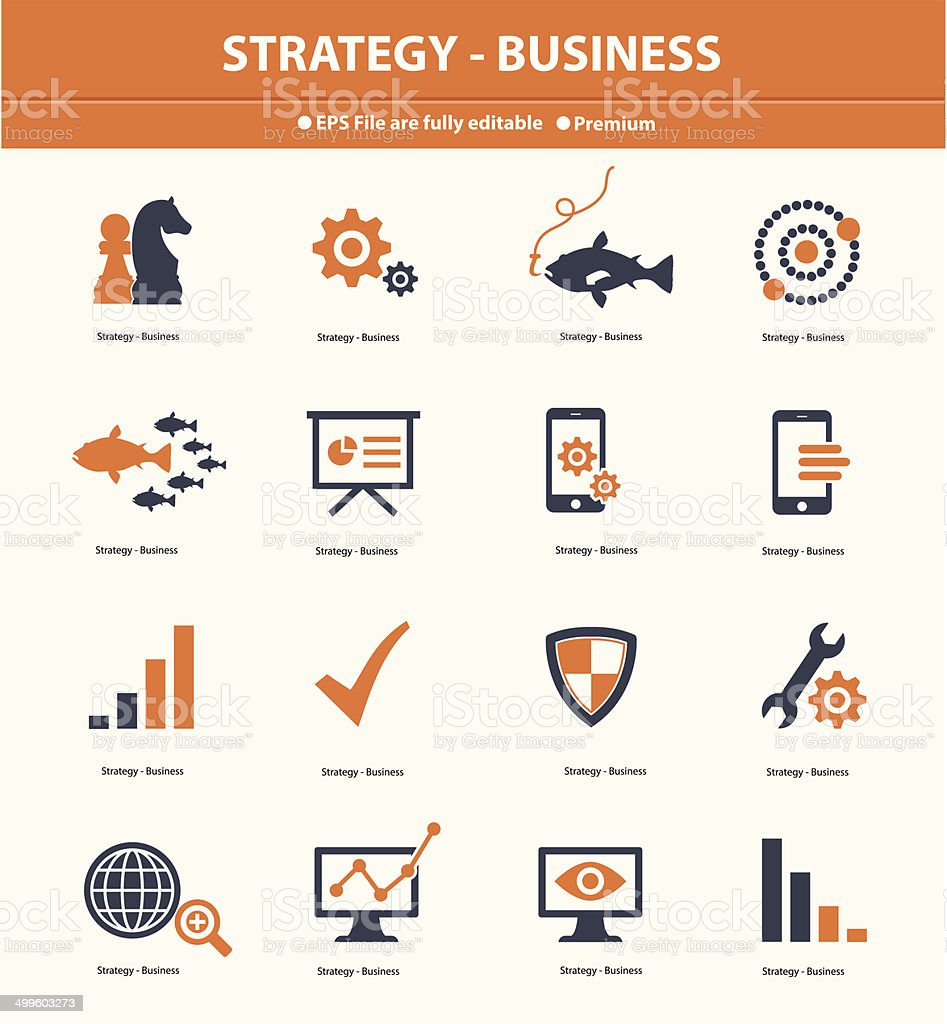 Strategy & Business concept icons,Orange version,vector vector art illustration