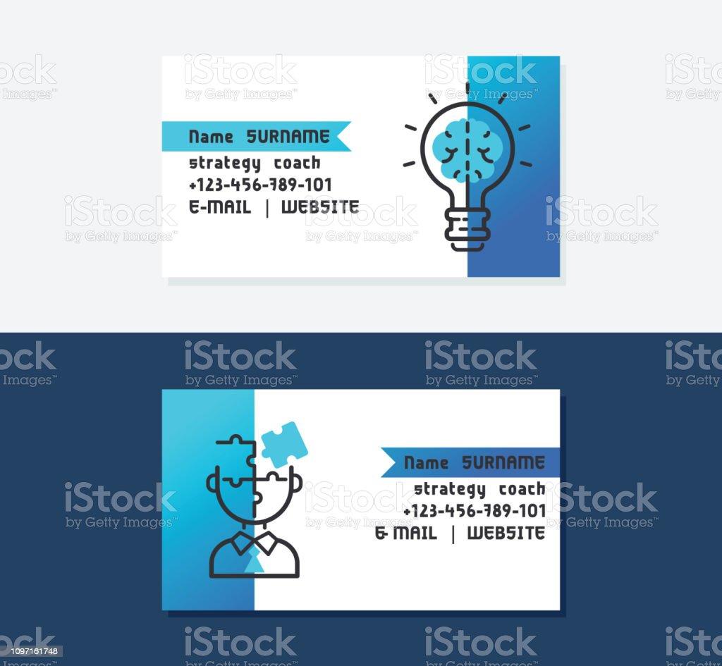 Strategietrainervisitenkartenvektorillustration Symbole Mit