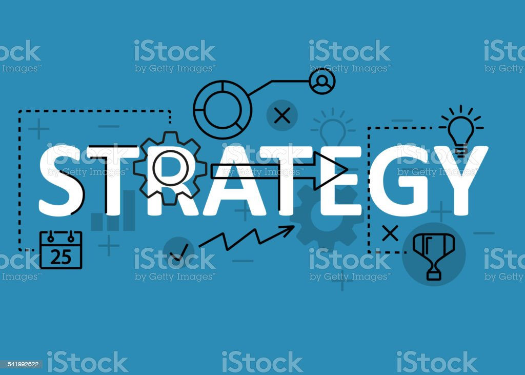 Strategy concept flat line design with icons and elements vector art illustration