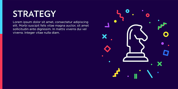 Strategy Concept. Geometric Pop Art and Retro Style Web Banner and Poster Concept with Knight Icon.