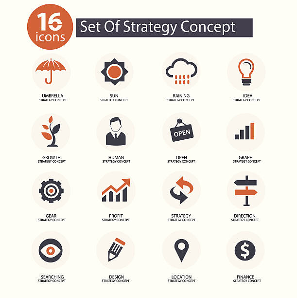 Strategy Concept icons,vector,Orange version Strategy Concept icons,vector,Orange version stability stock illustrations