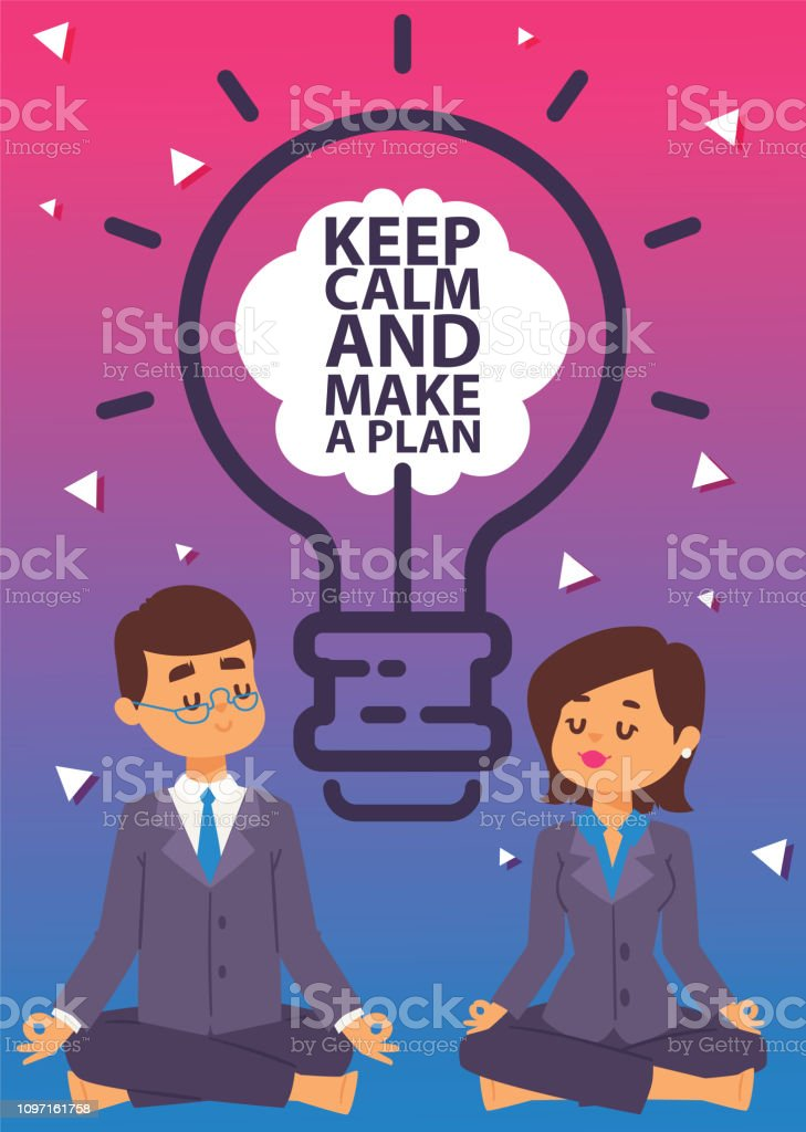 3742f33fdf1c5 Strategy concept vector illustration. Business man and woman meditating in lotus  pose. People doing yoga and getting calm. Keep calm and make a plan banner.