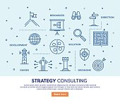 Line vector illustration of strategy consulting concept. Banner/Header Icons.