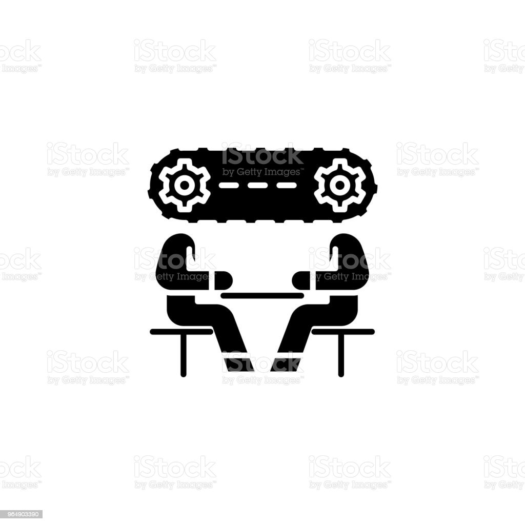 Strategy discussion black icon concept. Strategy discussion flat  vector symbol, sign, illustration. royalty-free strategy discussion black icon concept strategy discussion flat vector symbol sign illustration stock vector art & more images of achievement