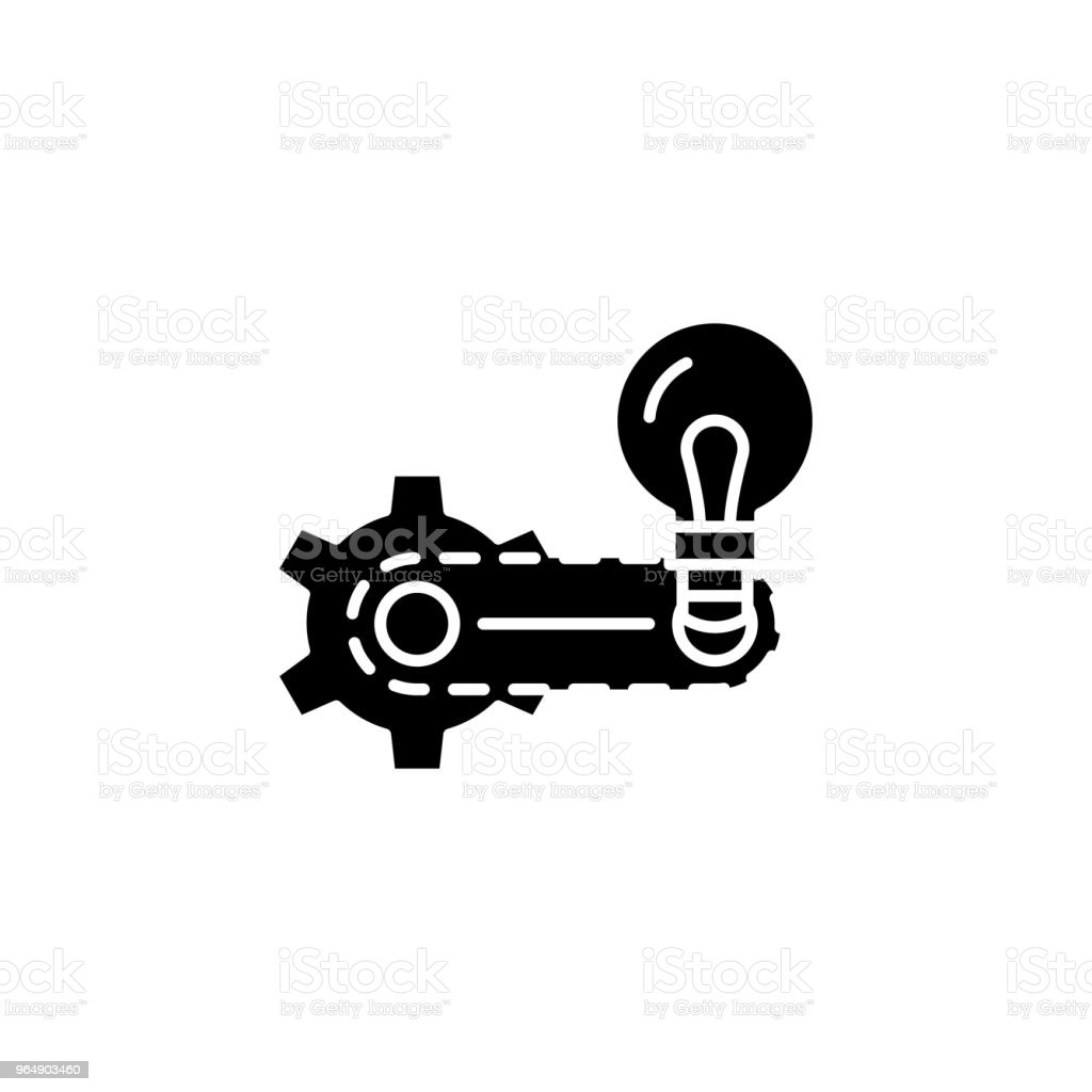 Strategy elaboration black icon concept. Strategy elaboration flat  vector symbol, sign, illustration. royalty-free strategy elaboration black icon concept strategy elaboration flat vector symbol sign illustration stock vector art & more images of awards ceremony