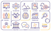 Line icon vector illustrations of business strategy, mission, and vision.