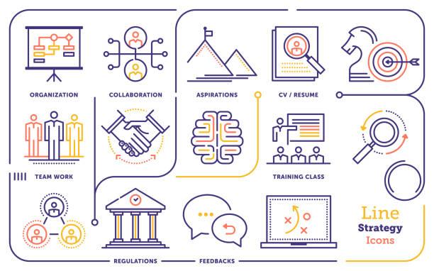 ilustraciones, imágenes clip art, dibujos animados e iconos de stock de conjunto de iconos de línea de estrategia - infografías de industria