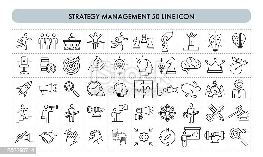 Strategy Management 50 Line Icon