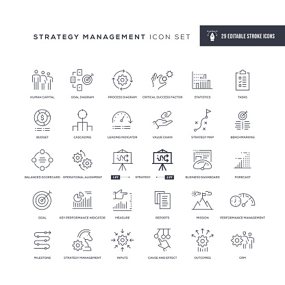 Strategy Management Editable Stroke Line Icons