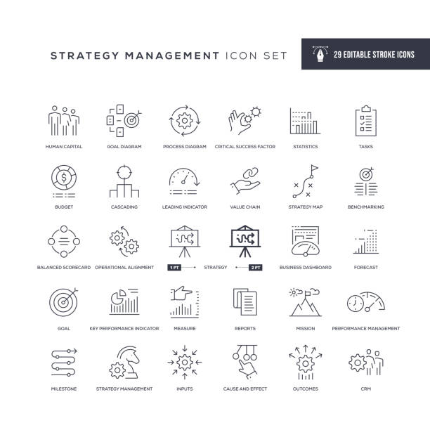 Strategy Management Editable Stroke Line Icons 29 Strategy Management Icons - Editable Stroke - Easy to edit and customize - You can easily customize the stroke with budget designs stock illustrations