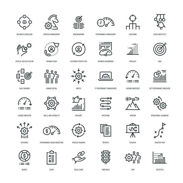 strategie-management-icon-set - fähigkeit stock-grafiken, -clipart, -cartoons und -symbole
