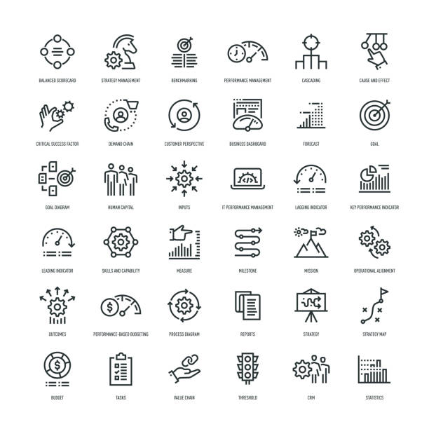 Strategy Management Icon Set Strategy Management Icon Set performance stock illustrations
