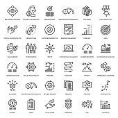 Strategy Management Icon Set - Thin Line Series