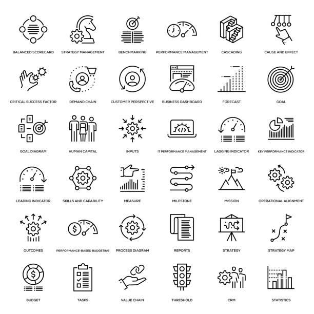 strategie-management-icon-set - geschäftsstrategie stock-grafiken, -clipart, -cartoons und -symbole