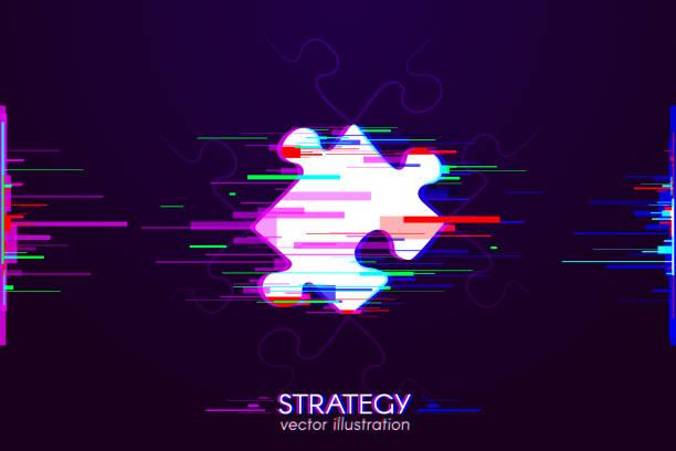 Strategie-Puzzle-Panne – Vektorgrafik