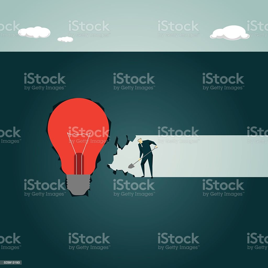 Strategy,Solution, Light Bulb, Lamp,Creativity, Inspiration, Cave, Underground vector art illustration