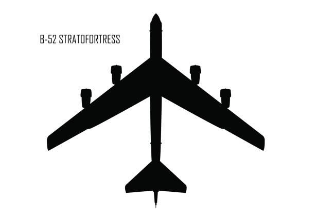 B-52 stratofortress silhouette B-52 stratofortress silhouette bomber plane stock illustrations