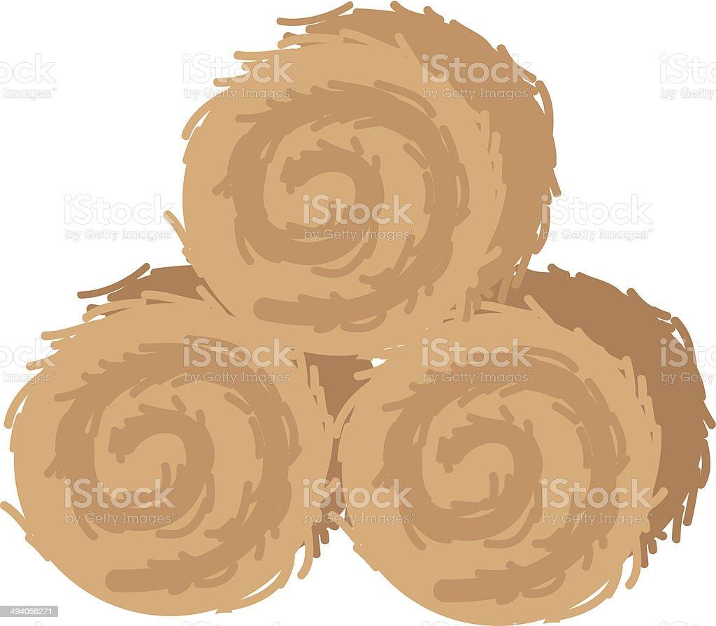 Straw bales vector art illustration
