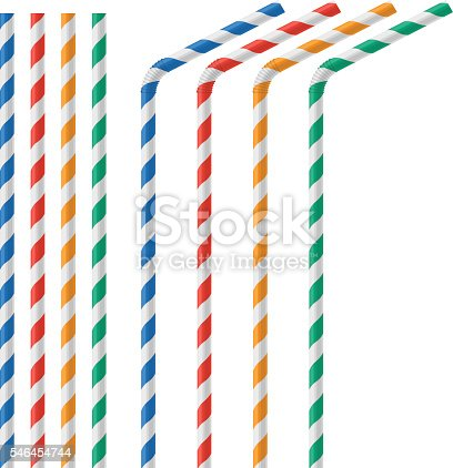 istock Straw for beverage colorful vector illustration isolated 546454744