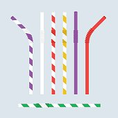 Straw for beverage. Striped colorful drinking straw isolated on background. Plastic pipe. Vector illustration flat design. Set is curved and straight. Cocktail, juice, drink.