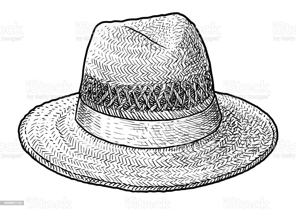 f9273269 Straw hat illustration, drawing, engraving, ink, line art, vector royalty-