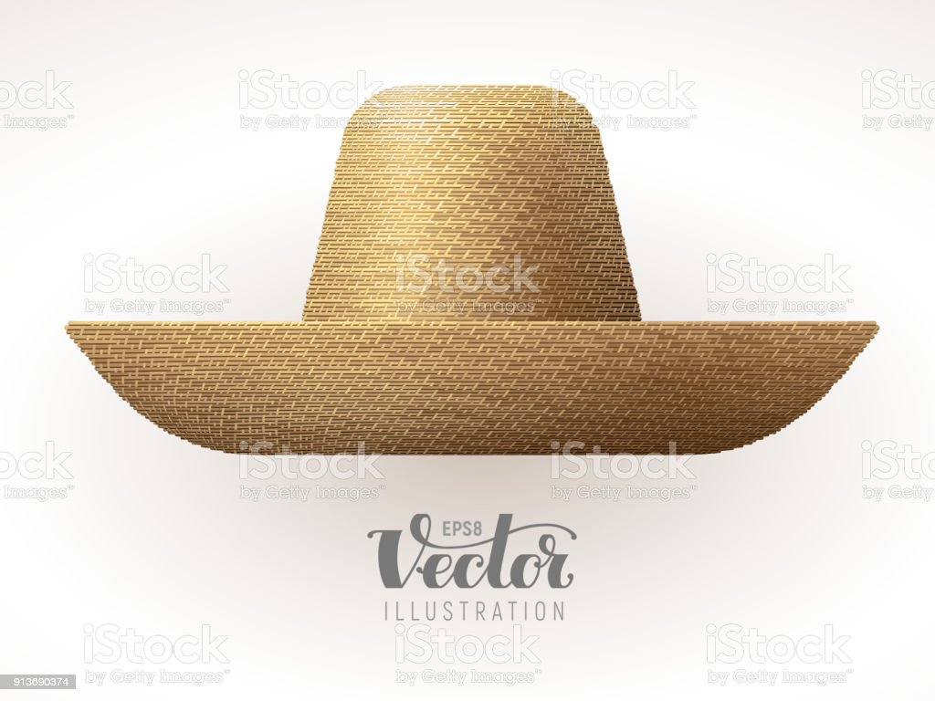 Straw hat isolated on white background vector art illustration