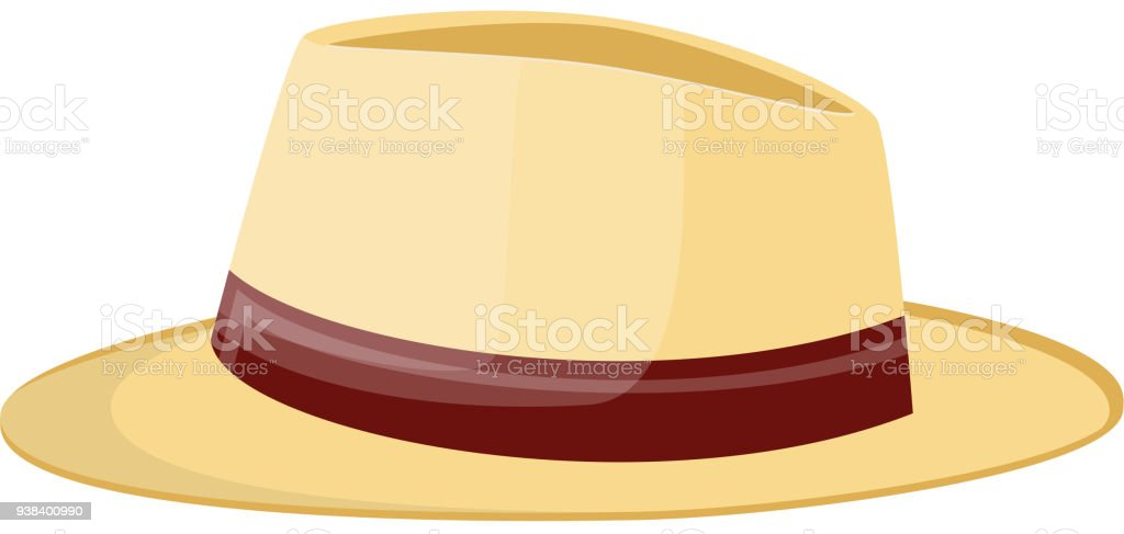 straw hat. Straw sunhat isolated on white. vector art illustration