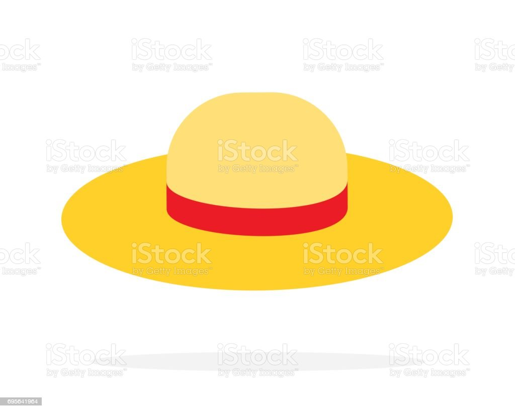 Straw hat vector flat isolated vector art illustration