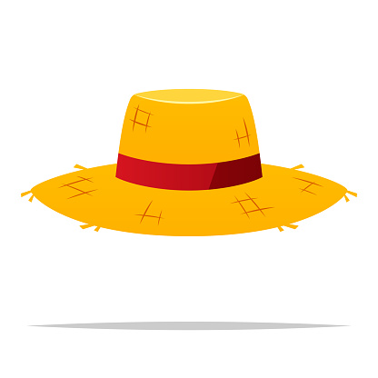 Straw hat vector isolated illustration