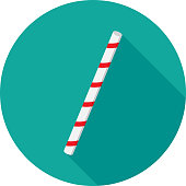 Vector illustration of a striped drinking straw against a teal background in flat style.