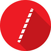 Vector illustration of a red drinking straw icon in flat style.