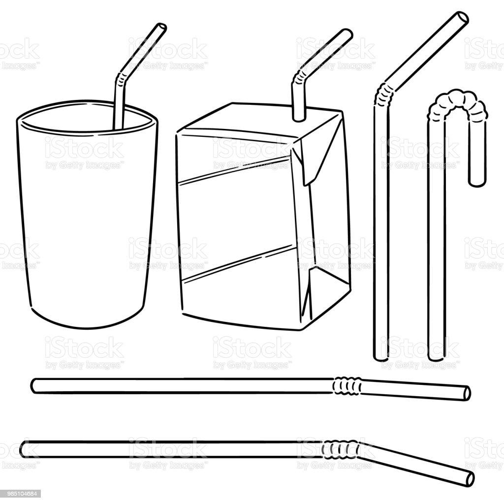 straw vector art illustration