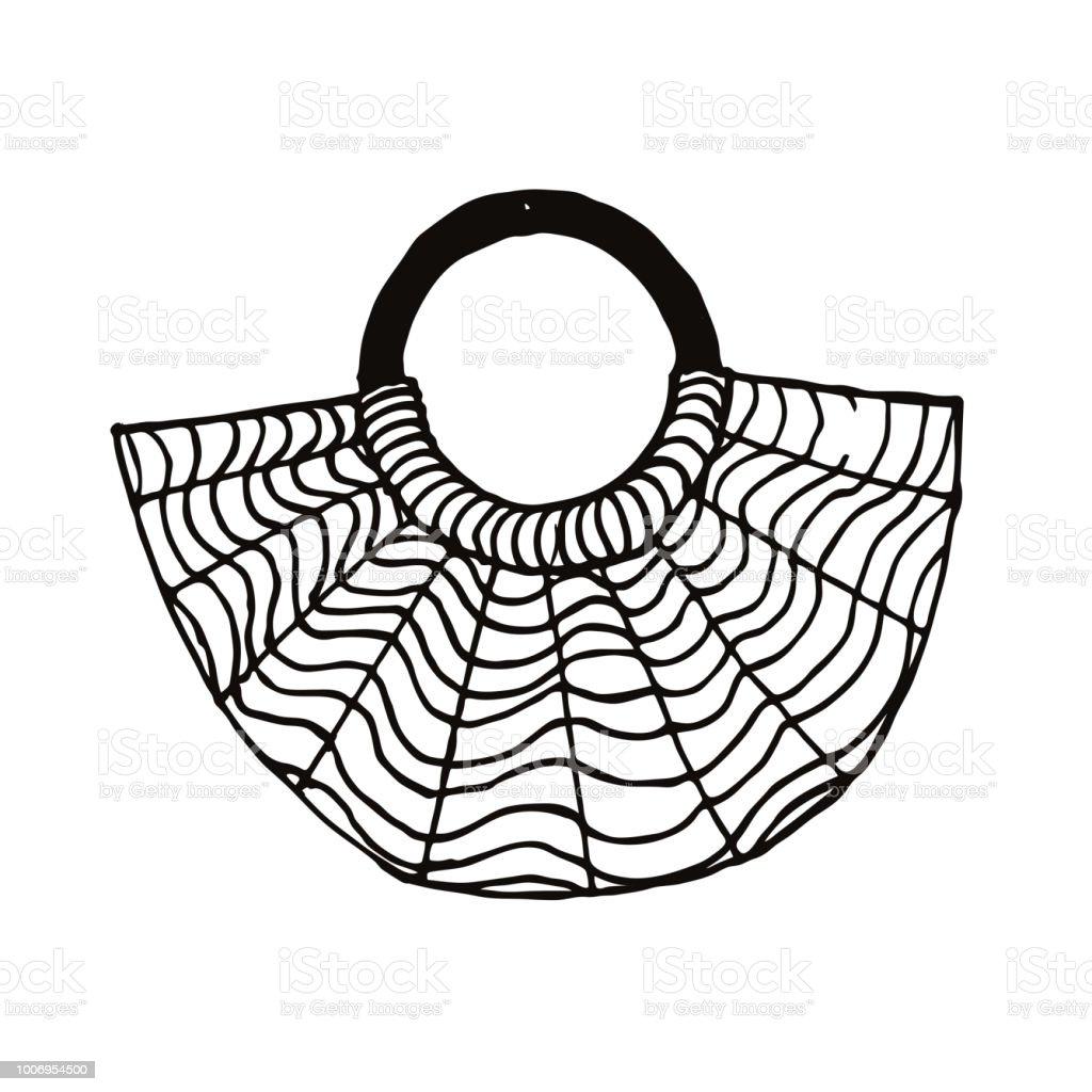 Bolso de mimbre paja berlineses. Moda ilustración dibujado a mano.  ilustración de bolso de 52d2c962560
