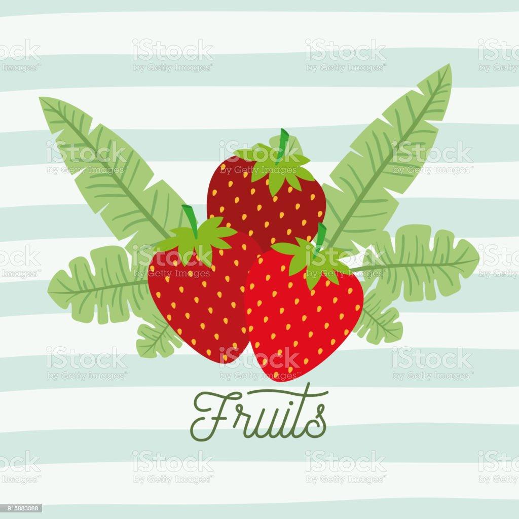 Erdbeeren Früchte Mit Blättern Auf Dekorative Linien Farbe ...